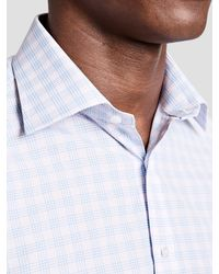 Thomas Pink Blue Bateson Check Slim Fit Shirt for men
