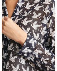 Hartford Blue Carta Clyde Silk Blend Print Shirt