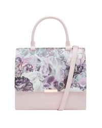 Ted Baker Purple Jacy Illuminated Bloom Leather Across Body Bag