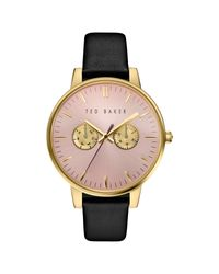 Ted Baker - Black Women's Liz Day Leather Strap Watch - Lyst