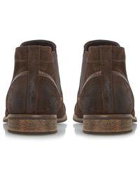 Dune Brown Chili Toecap Detail Suede Chelsea Boots for men