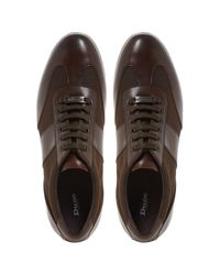 Dune Brown Tobias Mixed Material Lace-up Trainers for men