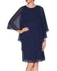 John Lewis Blue Gina Bacconi Daisy Tiered Dress With Shawl