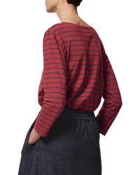 Toast Red Breton Stripe Boat Neck T-shirt