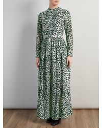 Somerset by Alice Temperley Green Animal Print Maxi Dress