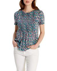 White Stuff Blue Sheila Shirring Detail Jersey T-shirt
