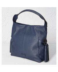White Stuff Blue Annabel Leather Shoulder Bag