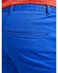 Scotch & Soda Blue Chino Peached Cotton Shorts for men
