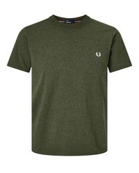 Fred Perry Green Crew Neck Cotton T-shirt for men
