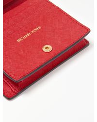 MICHAEL Michael Kors Red Jet Set Travel Leather Flap Card Holder