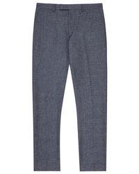 Reiss Blue Taken Mottled Tailored Trousers for men