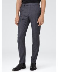 Reiss Blue Severinos Slim Prince Of Wales Check Trousers for men