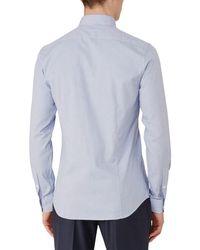 Reiss Blue Mattusi Houndstooth Cotton Slim Fit Shirt for men
