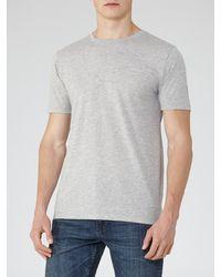 Reiss Gray Bless Crew Neck Marl T-shirt for men
