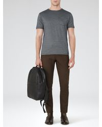 Reiss Gray Dazzle Micro Print T-shirt for men