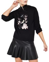Miss Selfridge Black Bird Embroidered Jumper