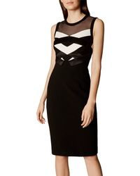 Karen Millen - Black Two Tone Origami Dress - Lyst