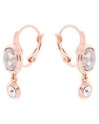 Karen Millen Pink Milano Swarovski Crystal Double Drop Earrings
