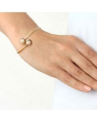 Ib&b - Multicolor 9ct Three Colour Gold Double Knot And Pearl Flexible Torque Bangle - Lyst