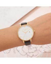 Olivia Burton Metallic Women's Queen Bee Date Leather Strap Watch