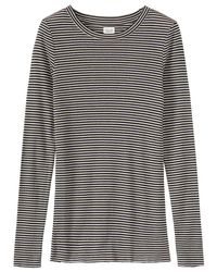 Toast Black Stripe Fine Wool Tencel T-shirt