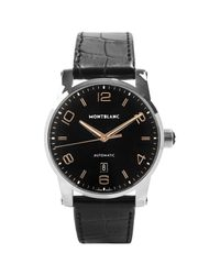 Montblanc Black 110337 Men's Timewalker Automatic Date Alligator Leather Strap Watch for men