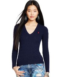 Polo Ralph Lauren | Blue Kimberly Wool-blend Cable Knit Jumper | Lyst