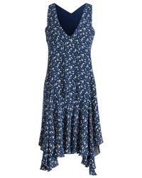 Ralph Lauren Blue Printed Silk Dress