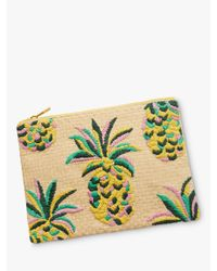 Boden Multicolor Pineapple Embroidered Zip Pouch
