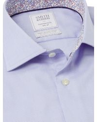 Smyth & Gibson Blue Textured Pique Liberty Print Contemporary Fit Shirt for men