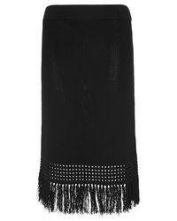 Whistles Black Fringe Hem Cotton Skirt