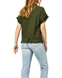 Warehouse Green Woven Hem Knitted Top