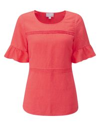 Pure Collection Pink Laundered Linen Ruffle Sleeve Top