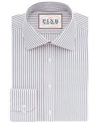 Thomas Pink Blue Corson Stripe Classic Fit Shirt for men