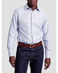 Thomas Pink Blue James Texture Slim Fit Shirt for men