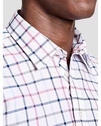 Thomas Pink White Kendrick Check Slim Fit Shirt for men