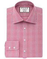 Thomas Pink White Humphrey Check Slim Fit Shirt for men