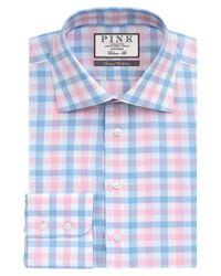 Thomas Pink Blue Hercules Check Classic Fit Shirt for men
