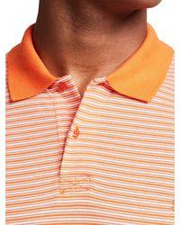 Thomas Pink Orange Morland Stripe Classic Fit Polo Shirt for men