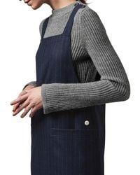 Toast Blue Pinstripe Wool Apron Dress