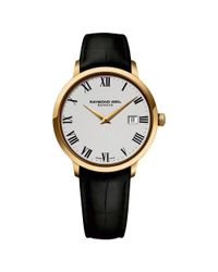 Raymond Weil Black 5488-pc-00300 Men's Toccata Gold Plated Leather Strap Watch for men