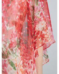 John Lewis Red Gina Bacconi Watercolour Chiffon Dress With Cape