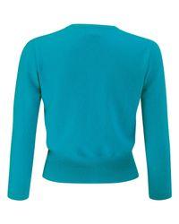 Pure Collection Blue V-neckline Cropped Cashmere Jumper