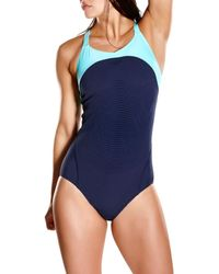 Speedo Blue Fit Power Form Xback Swimsuit