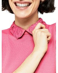 Warehouse - Pink Lace Collar Knitted Top - Lyst