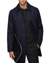 Reiss Blue Arnold Wool Herringbone Mac for men