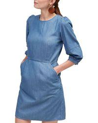 Warehouse Blue Lantern Sleeve Denim Dress