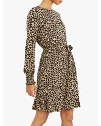 Oasis Multicolor Animal Print Crepe Blouse Dress