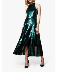 Karen Millen Green Sequin Midi Dress