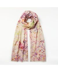 John Lewis Pink Wool Rich And Silk Hydrangea Floral Print Collage Scarf